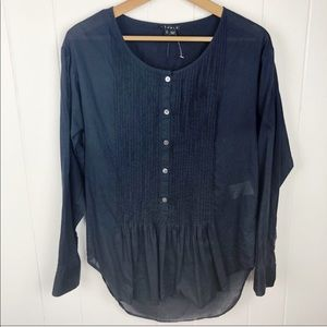 Theory•Navy blue pintuck Front popover tunic top